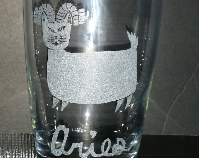 Aries the Ram from our Kitty Kat Zodiac series on a 20 oz water glass