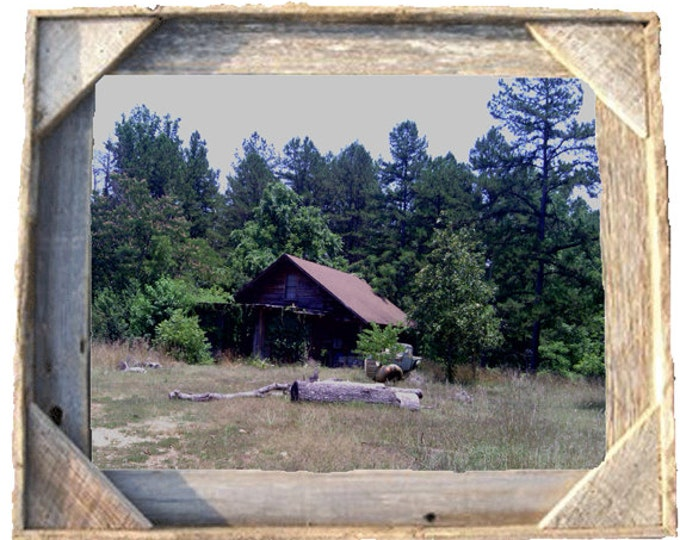 Old Barn with antique truck photo taken by me framed in Rustic, Weathered Wood Picture Frame 8x10