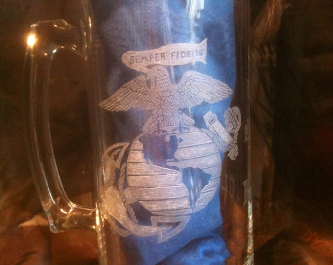 Semper Fidelis Eagle marine image engraved on large glass mug