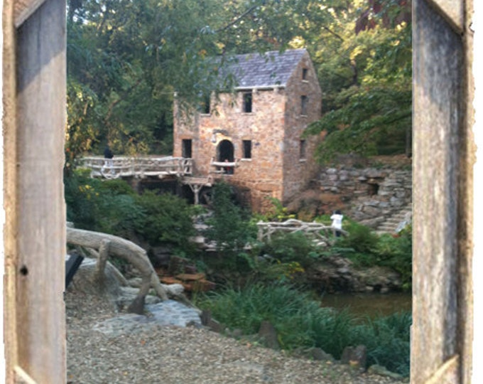 Old Mill photo in North Little Rock AR, framed in Rustic, Weathered Wood Picture Frame 8x10