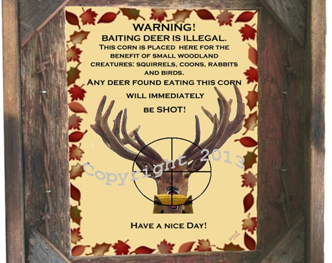 """Barnwood Picture Frame 8X10 includes """"Baiting Deer is illegal"""" sign, glass and hanging hardware"""