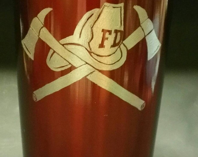 Hand Engraved Fireman's Crossed Axes image on 20 oz metal tumbler w slide close lid