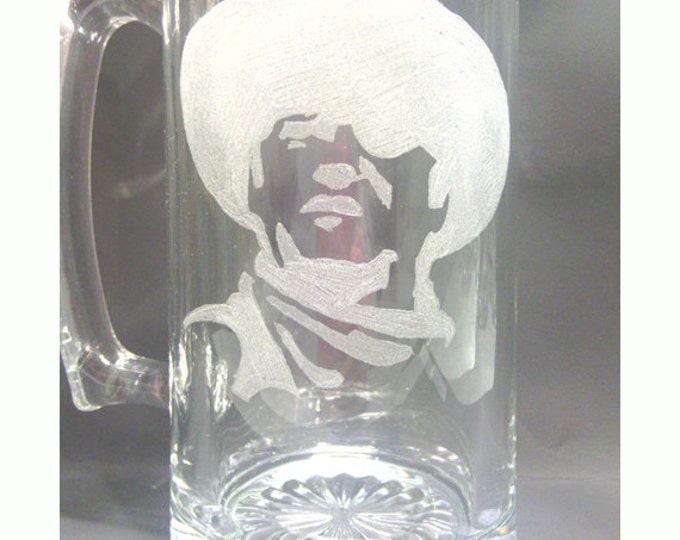 Cowboy Engraved Large Glass Mug