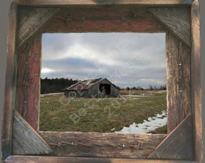 Crumbling old barn in garland of snow photo taken by me and framed in Rustic, Weathered Wood Picture Frame 8x10