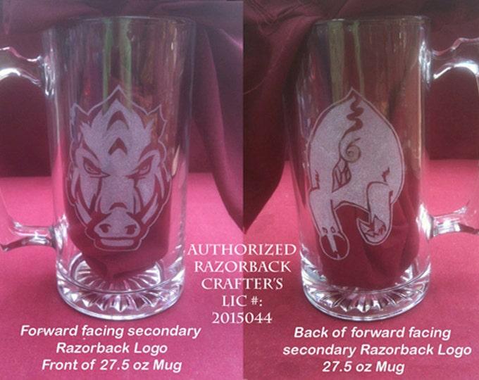 Hand engraved glass mugs with the forward facing Arkansas Razorback Logo