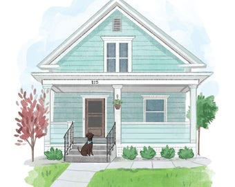 Custom Personalized Illustrated House Portrait, Real Estate Agent Gift, Original Home Illustration, Housewarming gift (digital file only)