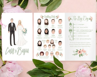 Custom Illustrated Wedding Booklet/Program - Printable DIY -  (digital files only)