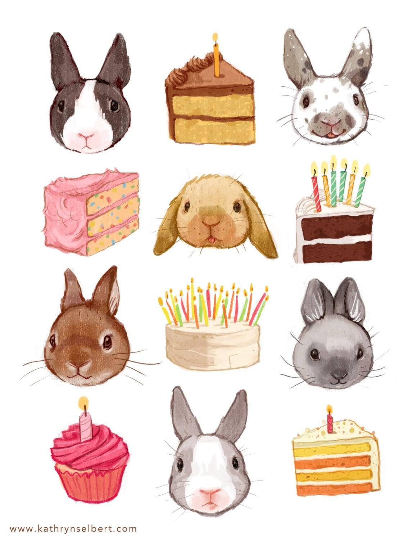 Fine art print hasen und geburtstag kuchen illustration etsy for Kuchen sofort lieferbar