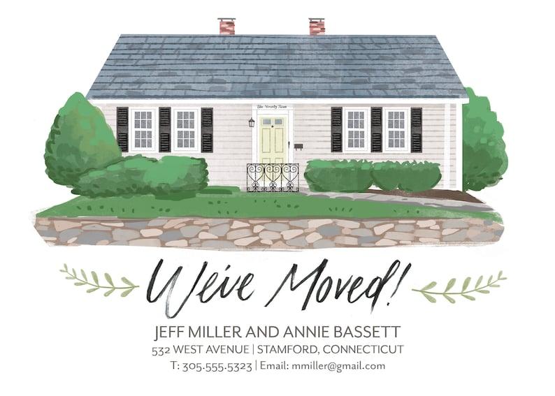 We/'ve Moved Custom House Portrait Illustration Announcement Card digital file only
