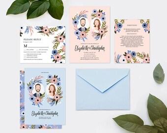 Custom Illustrated Couple Portrait Wedding Invitation Suite - Printable DIY - Digital Files only
