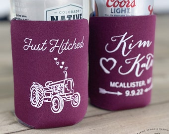 Just hitched tractor wedding can cooler, farm tractor wedding coosie, wedding favors, just hitched can coosie, wedding cosie, can coolies