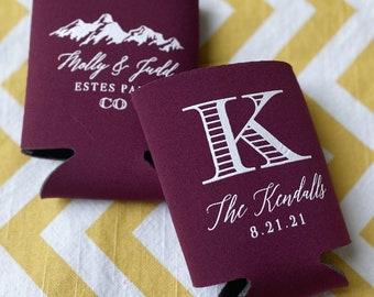 Elegant Mountain wedding can cooler, monogram wedding can coosy, new last name, mountain wedding favor, can coolie, wedding coosies 0080