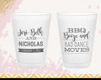 Booze BBQ and Booty Shaking BBQ Personalized Wedding  Bridal Shower Rehearsal Dinner  Bachelorette Shatterproof Plastic Cups