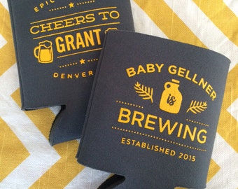 Baby Is Brewing Can Coolers Baby Shower Brewery Favors Baby Etsy