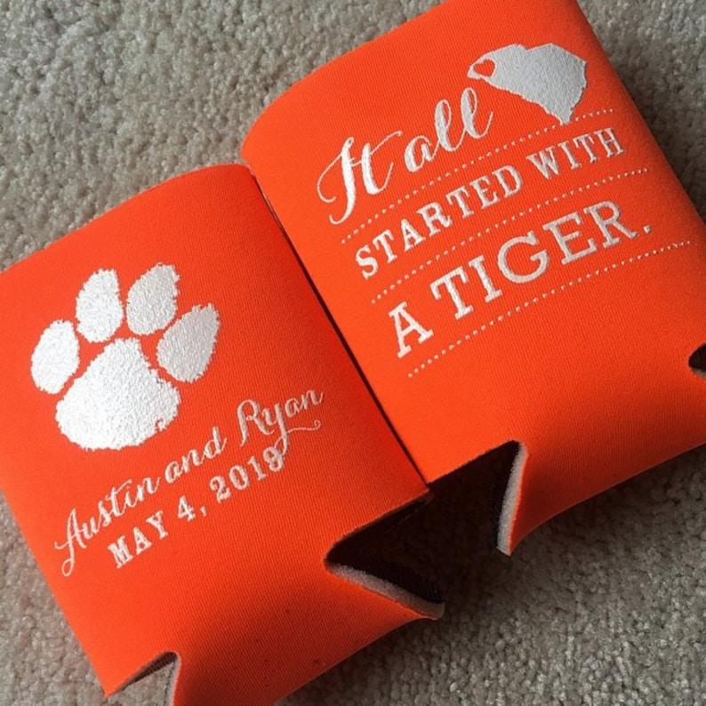 tiger wedding favor Clemson Tigers wedding college sweetheart wedding favor Clemson Tigers wedding coolies college theme wedding favors