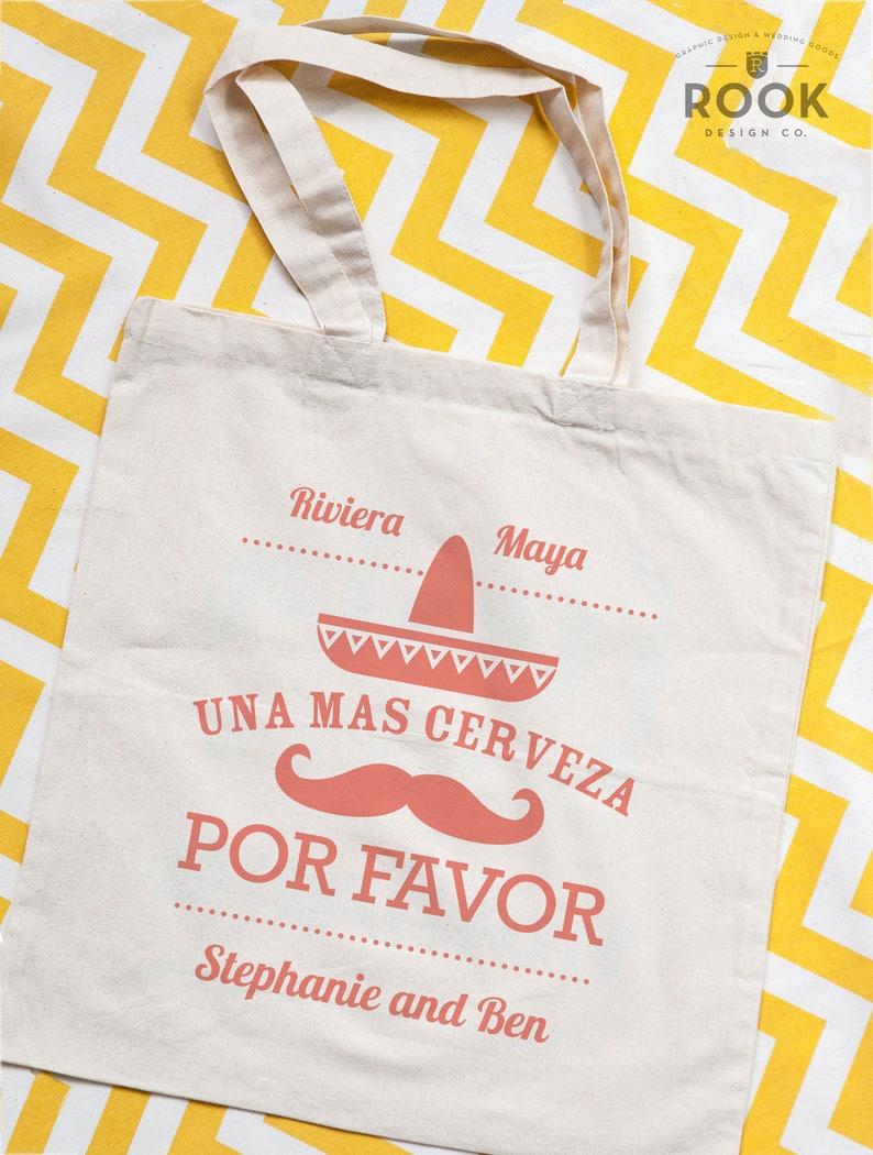 10 bags wedding gift welcome bag Mexico tote bag beach tote Una Mas Cerveza Por Favor tote destination wedding tote bag