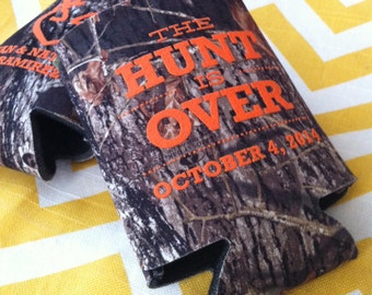 The Hunt is Over Camo Wedding can coolers, Mossy oak camo wedding favor, Camo country wedding can cooler (300)