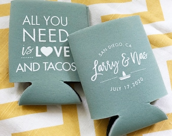 All you need is Love and tacos can coolers, Cinco de mayo fiesta wedding, fiesta beer coosies, Tacos theme personalized coolers, beer coosy