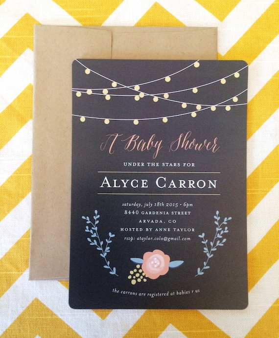 under the stars string light baby shower invitation etsy