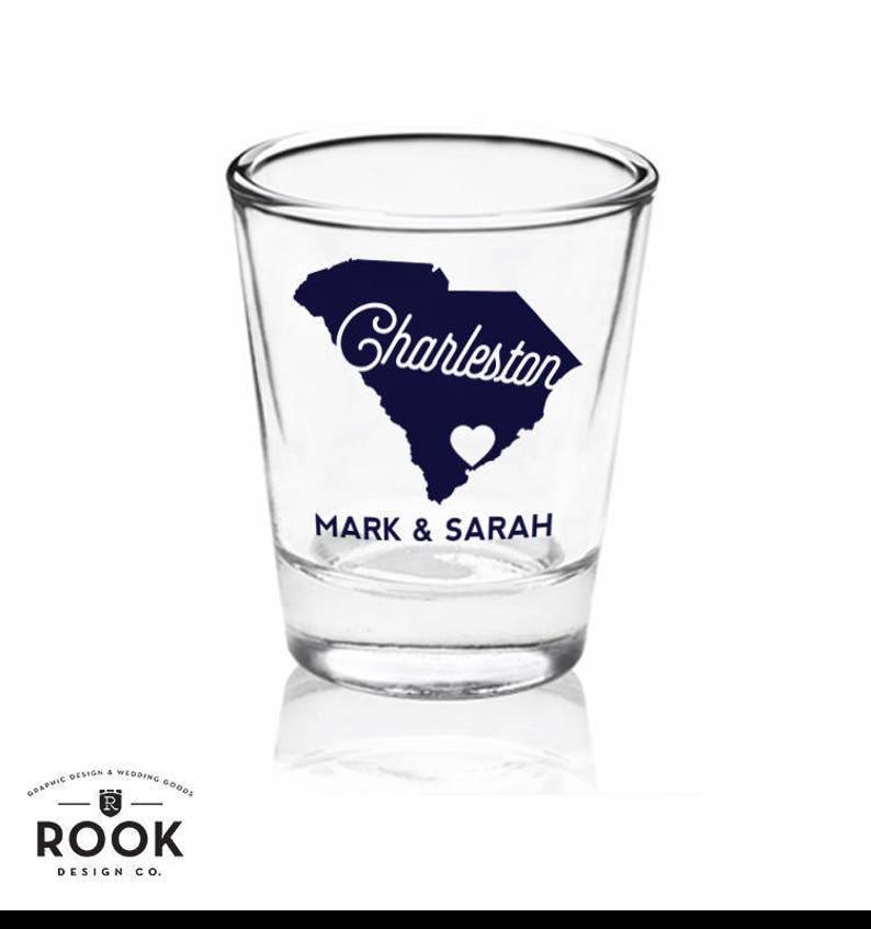 State outline shot glass custom shot wedding favor shot glass-36 glasses Charleston shot glass custom shot glass wedding shot glass