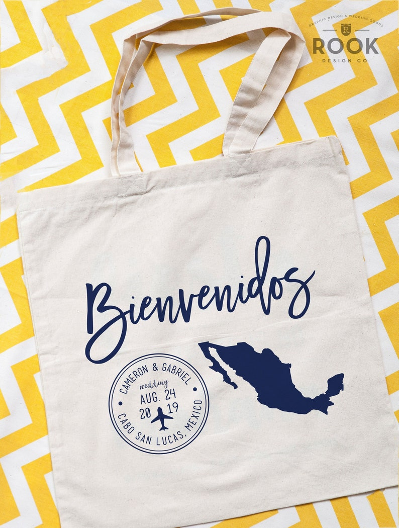 welcome bag Mexico passport tote bags wedding tote mexico event beach bag beach weekend tote Bienvenidos Tote bag destination tote bag