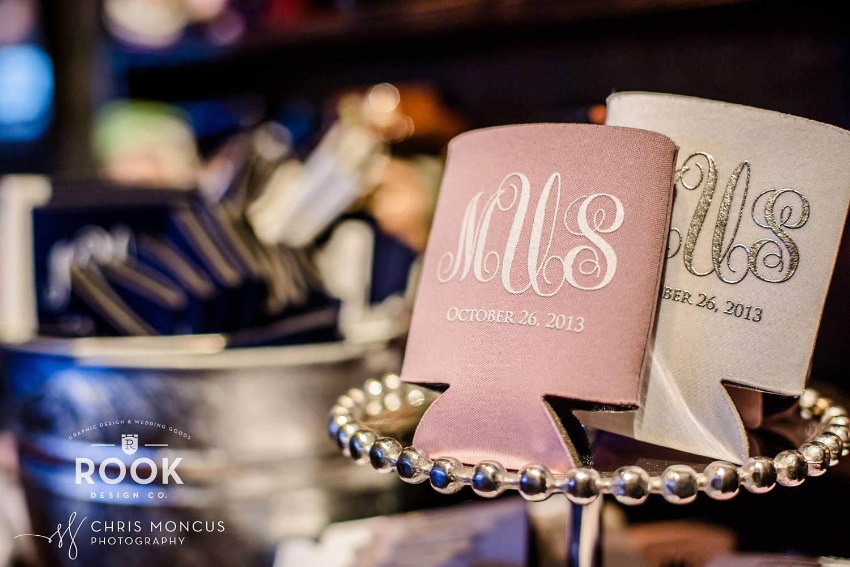 Script Monogram Wedding Can Cooler elegant wedding favor | Etsy