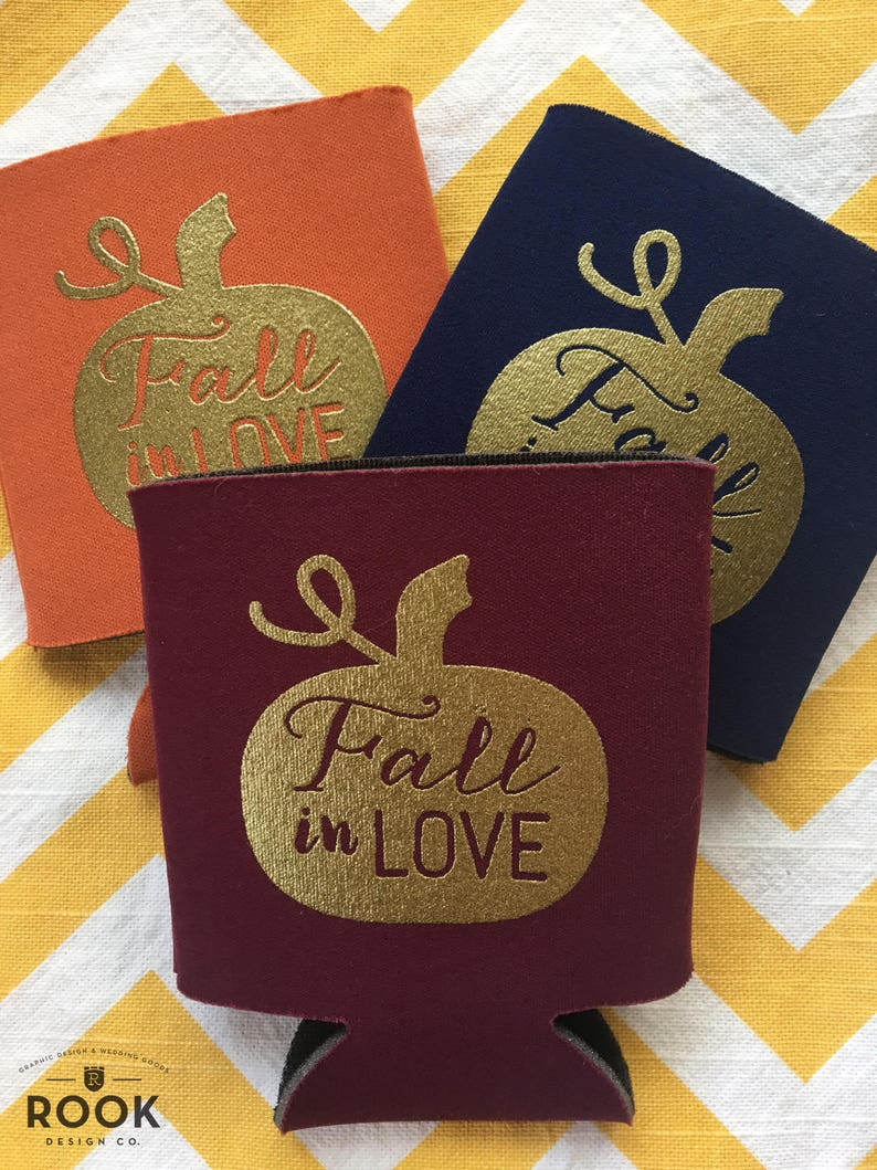 fall in love wedding coolers, fall wedding theme beer holders, fall  wedding, pumpkin fall in love can coolie, wedding beer holder (250 qty)