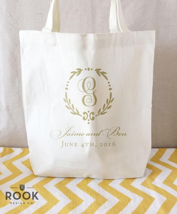 15 bags hotel welcome bag last name tote bag wedding canvas bag wedding tote bridal party tote Monogram wreath wedding tote