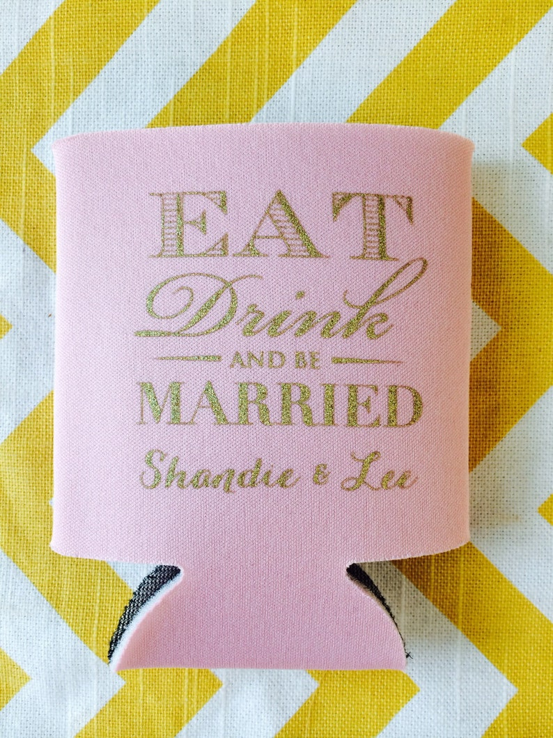art deco theme can cooler vintage style wedding favor monogram wedding can coolie Eat Drink and Be Married Wedding Can Cooler
