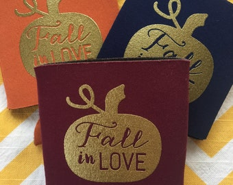 Fall in Love can coolers, pumpkin themed fall wedding, fall themed party favors, fall in love engagement party cooler, personalized can cosy
