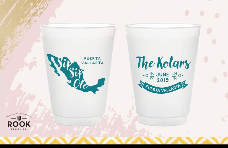 Sip Sip Ole mexico outline cup Mexico wedding favor personalized party favor party cups mexic destination wedding cup sip sip party cup