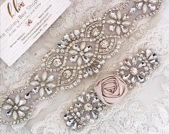 no slip grip garter toss and keepsake Champagne and Blush wedding garter set Rhinestone bridal garter satin ribbon and lace plus size belt