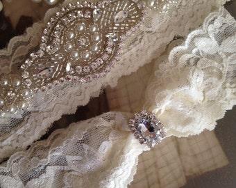 NO SLIP GRIP, Wedding Garter-Garter Belt-Bridal Garter-Garter-Ivory-Ivory Garter-Lace Garter-Rhinestone Garter-Navy Blue-White-Vintage