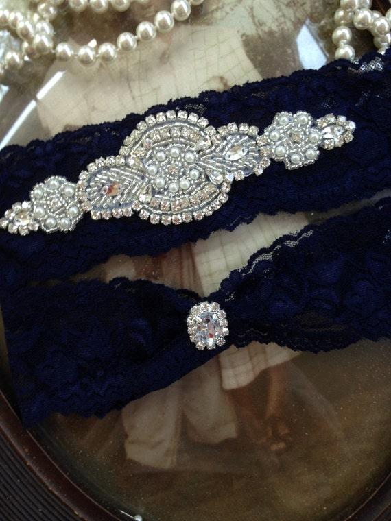 5c0fa390653 Wedding Garter Bridal Garter Belt Navy garter Rhinestone