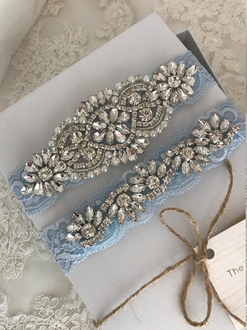 Stretch lace Ivory rhinestone bridal garter belt crystals plus size gem Blue Lace wedding garter set no slip grip garter toss and keepsake