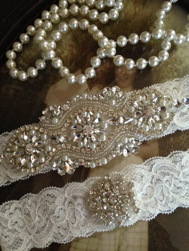 e1ad3993472 Wedding Garter set plus size Garter belt bridal Garter ivory