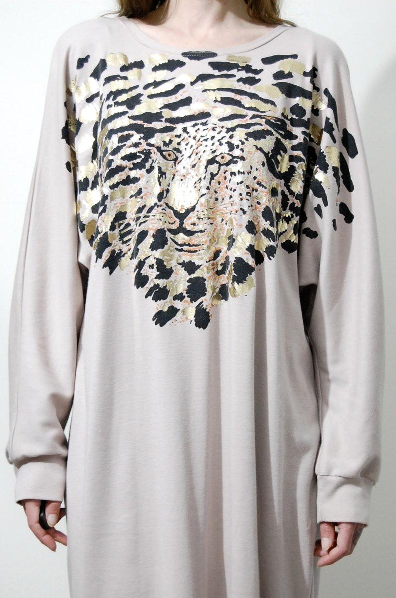 80s Vintage ANIMAL Print DRESS Gold Metallic Leopard Cheetah Beige Nude Soft Jersey Long Sleeve Batwing Midi Avant Garde Sweater 1980s vtg L
