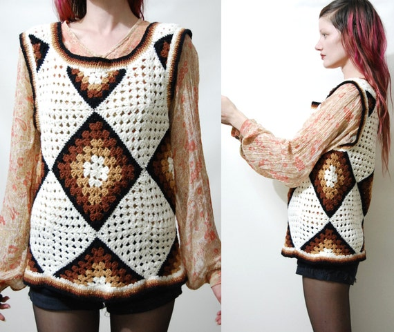 1970/'s Woodstock Hand Knit Cropped Rainbow TopSweater Vest BohoHippie