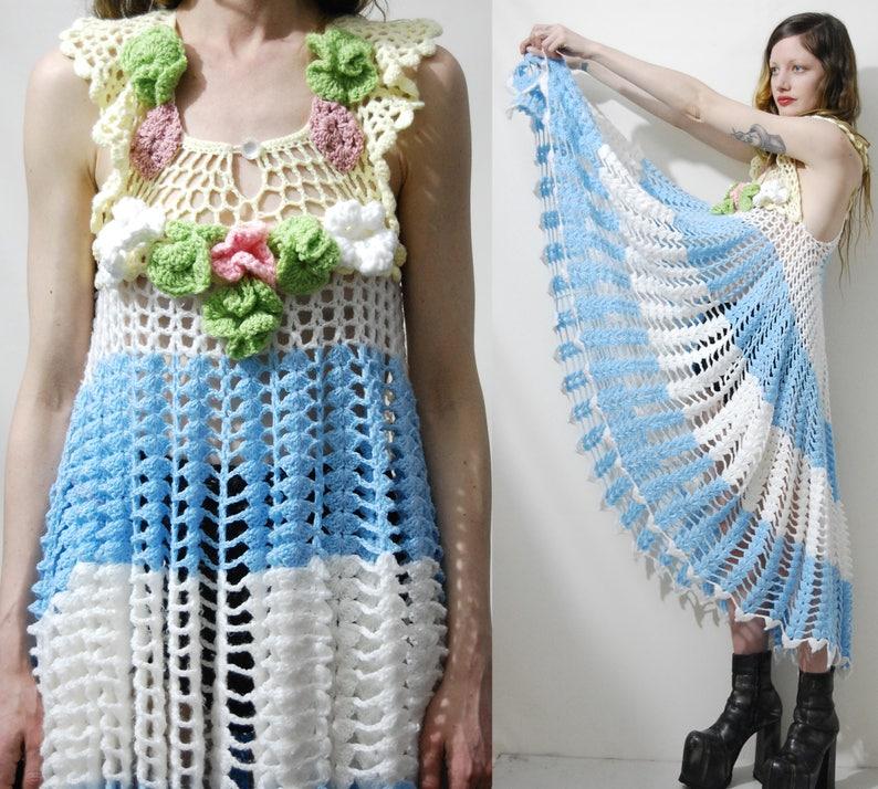 Pastel CROCHET DRESS Vintage Knit Lace Flowers Floral Scalloped Edge Fishtail Mermaid Handmade Vintage Boho Bohemian Kawaii Garden Candy XS
