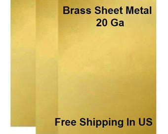 "MADE IN USA 8/"" X 8/"" YELLOW SOLID BRASS BRASS SHEET  22 GA CRAFT SOFT"