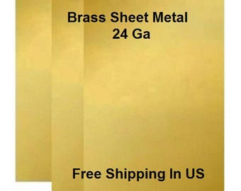 24 Ga Solid Brass Sheet Metal Assorted Sizes Available / Made In USA