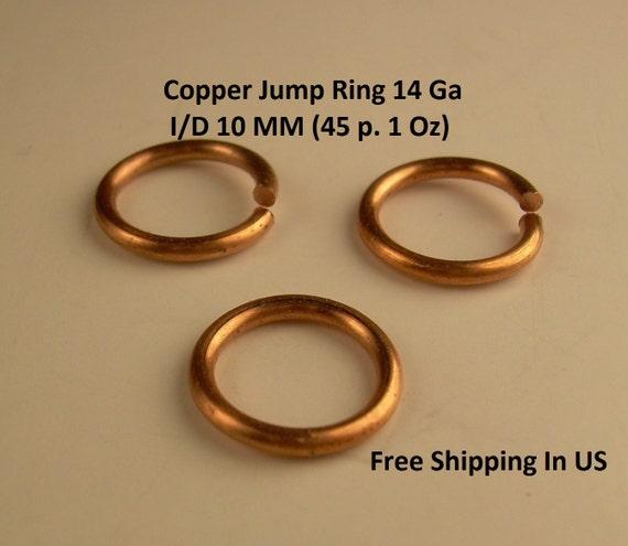 JUMP RING ANTIQUE COPPER 14GA WIRE 1 OZ 9MM  I//D 50 PCS SAW CUT SOLID COPPER