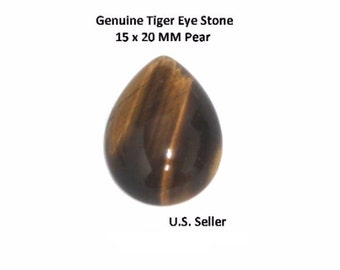 100% Natural Tiger Eye Cabochon 15 x 20 MM Pear (Pack of 1)
