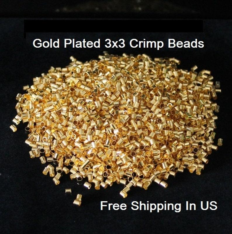 Raw  Brass USA Hole 2.5 mm Vintage Brass Tube Crimp Beads 3 x 3 mm 500 Pcs.