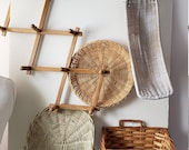 Four Vintage Wicker Baskets, one Accordian Wood Wall Hanger, before 2000, Lot of Four, home decor, wall decor hanging, country cottage
