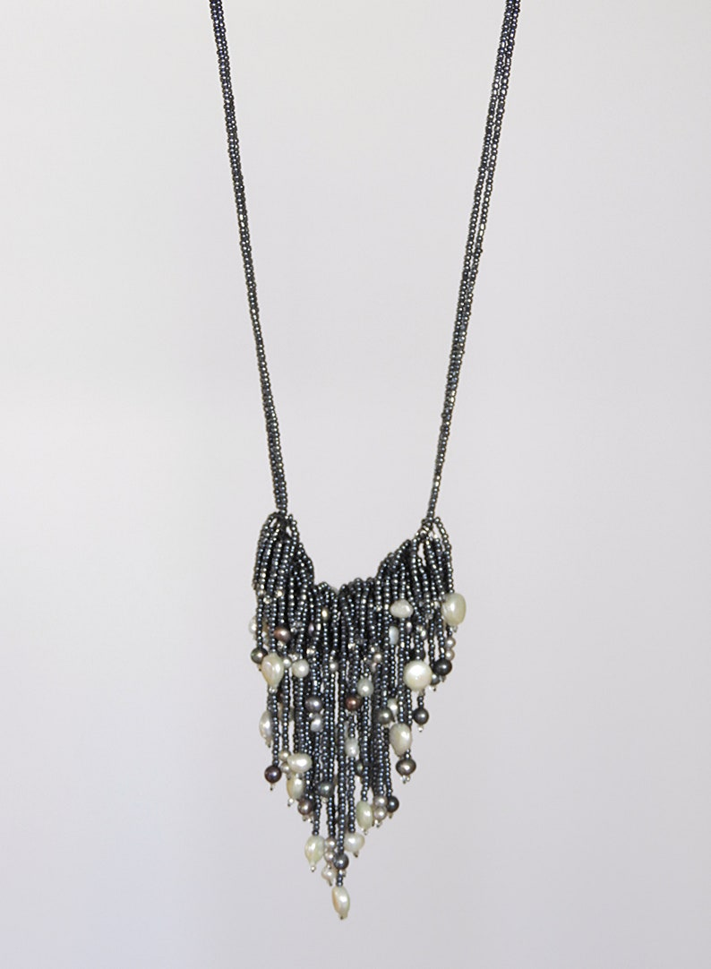 Black Metallic Seed Beads Adjustable Necklace with Freshwater Pearls