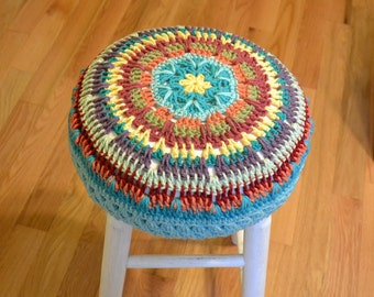 """RESERVED - Stool 27""""  high with Granny Square Crochet Cover White Turquoise Upcycle Recycle Littlestsister"""