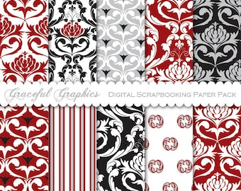 Scrapbook Paper Pack Digital Scrapbooking Background Papers DAMASK 10 8.5 x 11 CRANBERRY Red Gray Black White 1480gg