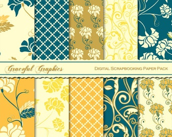 Scrapbook Paper Pack Digital Scrapbooking Background PapersFLOWERS Floral SWIRLS Teal Gold Yellow White 10  8.5 x 11 1442gg