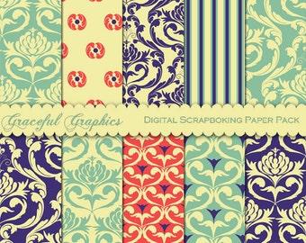 Scrapbook Paper Pack Digital Scrapbooking Background Papers DAMASK 10 8.5 x 11 Purple Orange Blue Yellow 1478gg